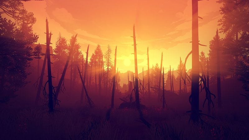 Even devastation can be beautiful in the lush wilderness of Firewatch
