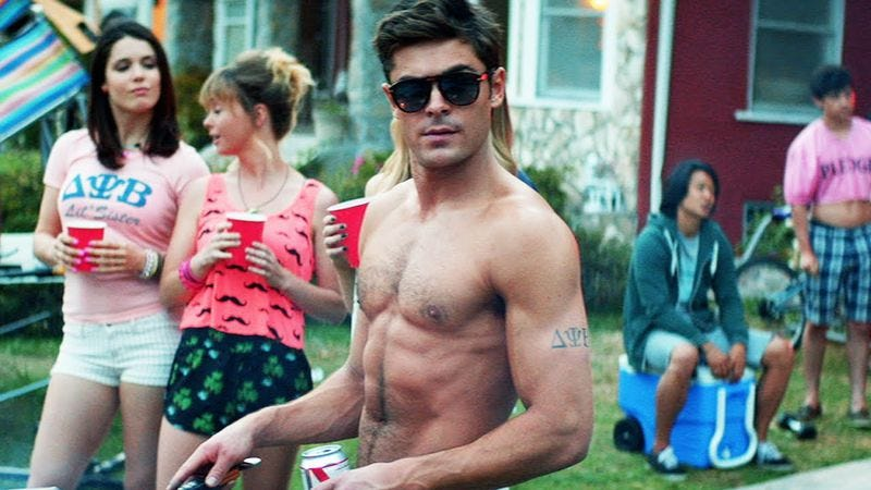 Zac Efron in Neighbors, demonstrating why he was chosen for Baywatch