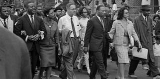 Martin Luther King Jr. and others march in support of voting rights in 1965. (Robert Abbott Sengstacke/Getty Images)