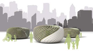 Illustration for article titled Algae-Powered Pods Provide Fresh Air in an Otherwise Polluted Environment