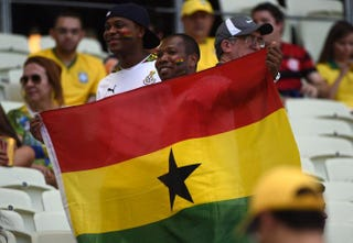 Ghana's fans cheer before the Group G football match between Germany and Ghana at the Castelao Stadium in Fortaleza, Brazil, during the 2014 FIFA World Cup June 21, 2014.PATRIK STOLLARZ/AFP/Getty Images