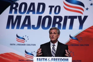House Majority Whip Kevin McCarthy (R-Calif.) addresses the Faith & Freedom Coalition's Road to Majority Policy Conference at the Omni Shoreham Hotel on June 20, 2014, in Washington, D.C.Chip Somodevilla/Getty Images