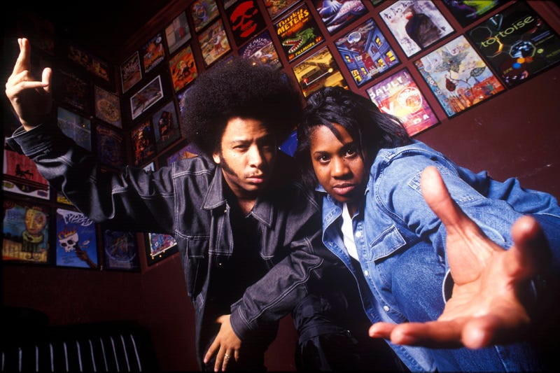 "Raymond ""Boots"" Riley and DJ Pam the Funkstress at the Fillmore in San Francisco on May 3, 2002 (Anthony Pidgeon/Redferns)"