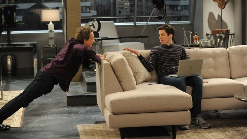 Mulaney attempts daring feat of bridging living room with Martin Short