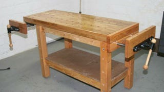 A Standard Workbench Is Simply A Sturdy Table, But A True Woodworking  Workbench Is Built To Secure Wood Of Various Sizes So You Can Saw, Drill,  ...