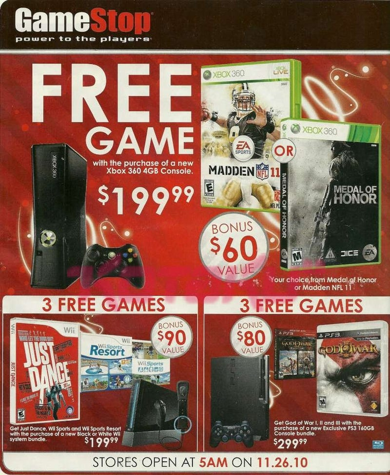 Illustration for article titled Leaked GameStop Black Friday Ads Includes PS3, Wii, Xbox 360 Bundles