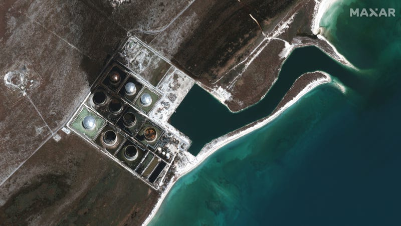 The South Riding Point facility in Grand Bahama Island on September 9, 2019. You can still see the black oil spilled out and across the land nearby.
