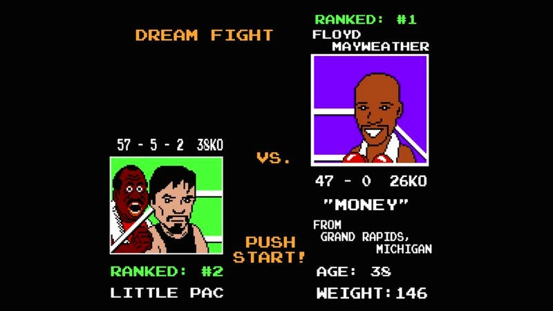 Illustration for article titled Watch Mayweather vs. Pacquiao as a Punch-Out!! game