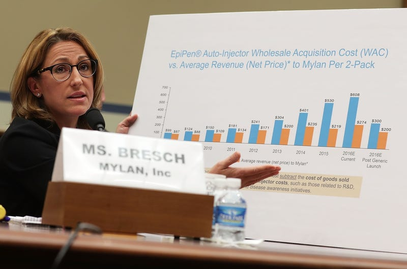 Mylan CEO Heather Bresch testifying with graphs that turned out to be bullshit (Photo by Alex Wong/Getty Images)