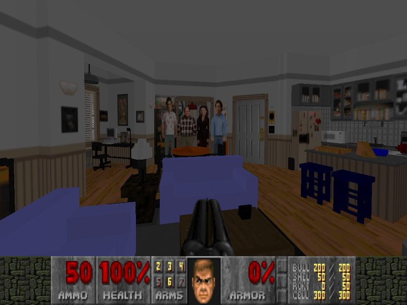 Illustration for article titled Seinfeld's Apartment Recreated in Doom 2