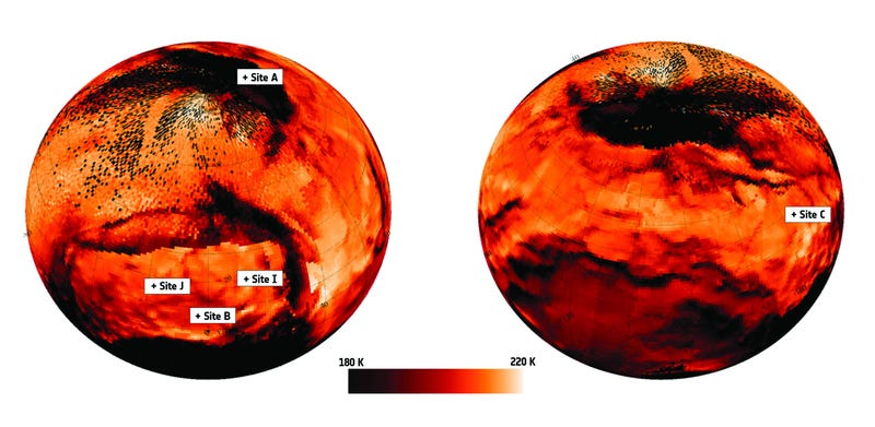 Illustration for article titled Latest VIRTIS Temperature Scans Show Comet 67P/C-G's 'Hot Spots'
