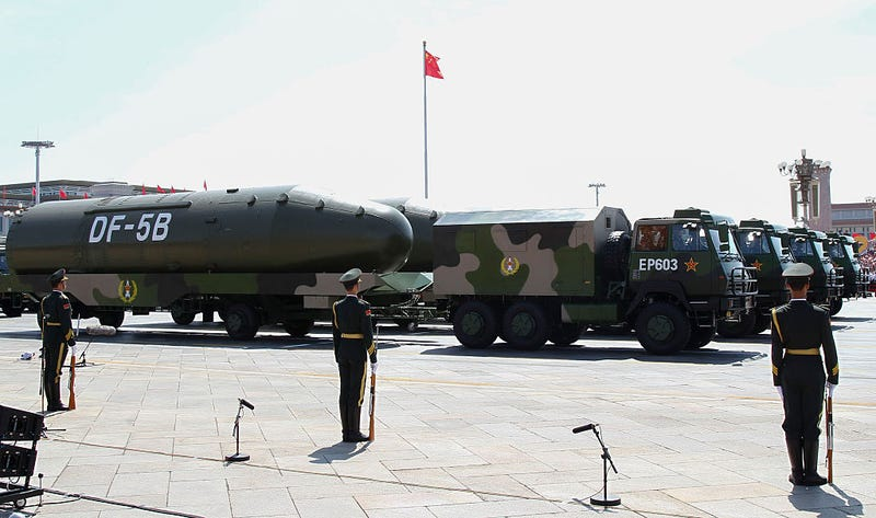 Chinese military DF-5B missiles are presented during a military parade in Tiananmen Square in Beijing on September 3, 2015, to mark the 70th anniversary of victory over Japan and the end of World War II. AFP PHOTO / POOL / ROLEX DELA PENA (Photo credit should read ROLEX DELA PENA/AFP/Getty Images)