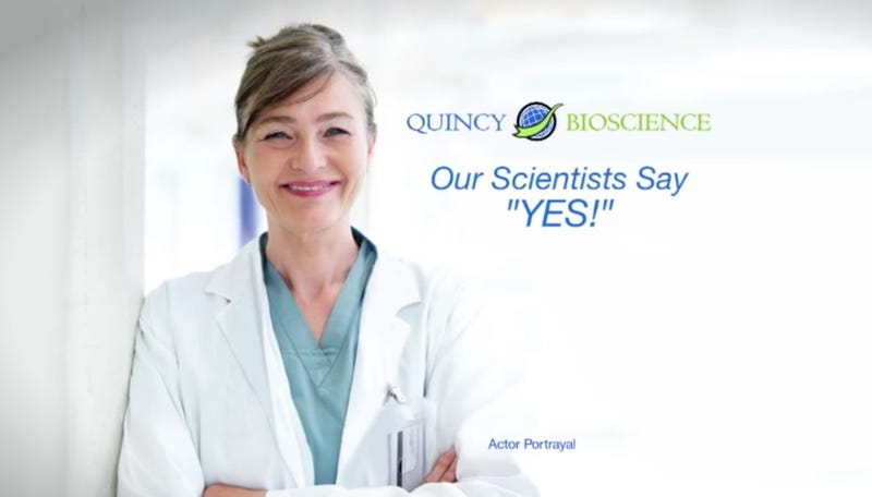 Screenshot from a commercial for the Quincy Biosciences supplement Prevagen, which purports to help with memory (YouTube)