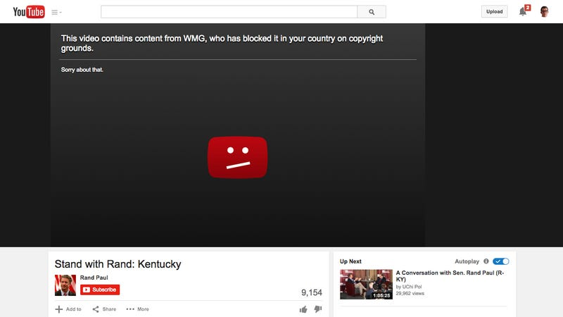 Illustration for article titled Rand Paul's Presidential Campaign Video Just Got Pulled From YouTube