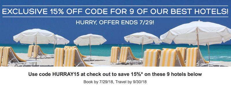 15% off Nine Select Hotels | Hotels.com | Promo code HURRAY15