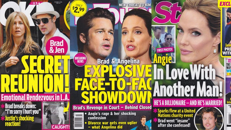 Illustration for article titled This Week In Tabloids: Angelina Dumped Brad For a Mysterious Billionaire?!