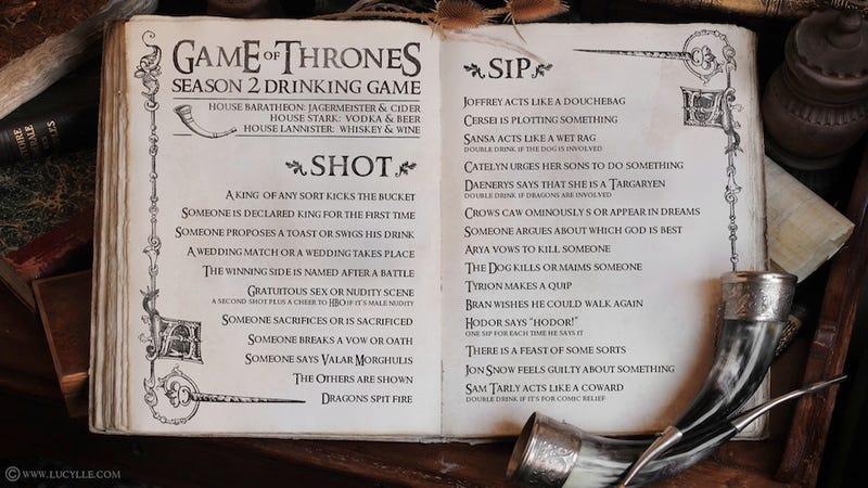 Illustration for article titled This Game Of Thrones  Drinking Game Will Have You Wasted in 10 Minutes Flat