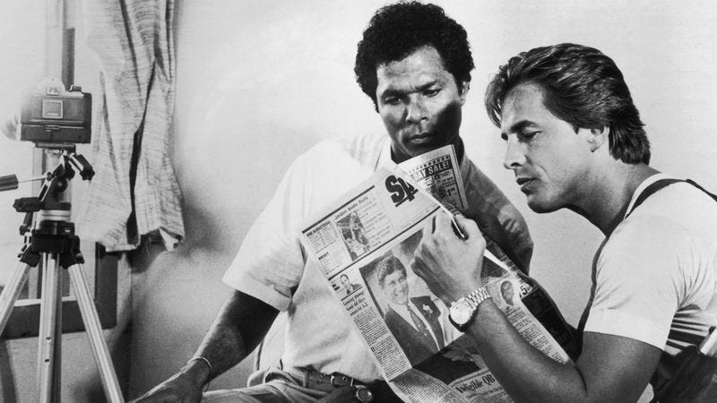 Philip Michael Thomas as Tubbs and Don Johnson as Crockett in a scene from Miami Vice, circa 1988. (Photo: Tom Gates/Hulton Archive/Getty Images)