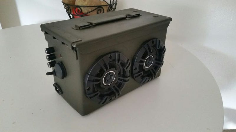 Illustration for article titled This DIY Bluetooth Boombox Is Made from an Old Ammo Container