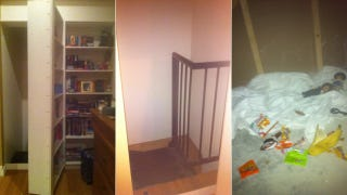 Illustration for article titled A secret room behind a bookshelf is cool until a stranger lives inside
