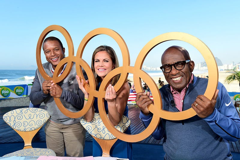 Al Roker (right) with Today-show co-hosts at the 2016 Summer Olympics in Rio de Janeiro. Getty Sports Images