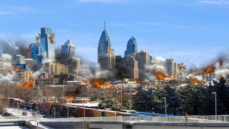 Philadelphia officials say they're optimistic enough about their chances of landing the new headquarters that it just made sense to implode the downtown area.