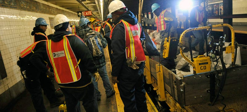 The MTA working on the totally-screwed L Train tunnel to Williamsburg. Photo via the MTA's amazing Flickr account.