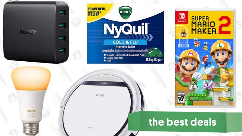 Illustration for article titled Monday's Best Deals: $112 Robotic Vacuum, Mario Maker 2, Philips Hue, and More