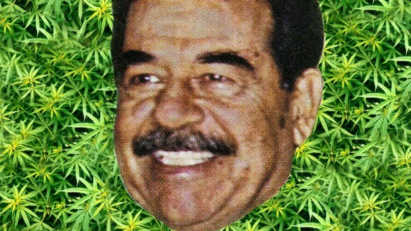 Illustration for article titled Saddam Hussein is alive and high out of his mind on pot brownies