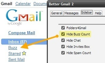 Illustration for article titled New in Better Gmail 2: Hide Buzz Count and Audio Notification