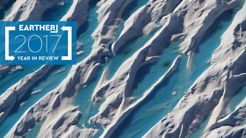 Meltwater in crevasses in southern Greenland captured from NASA Icebridge aircraft on May 11. Photo: John Sonntag/NASA