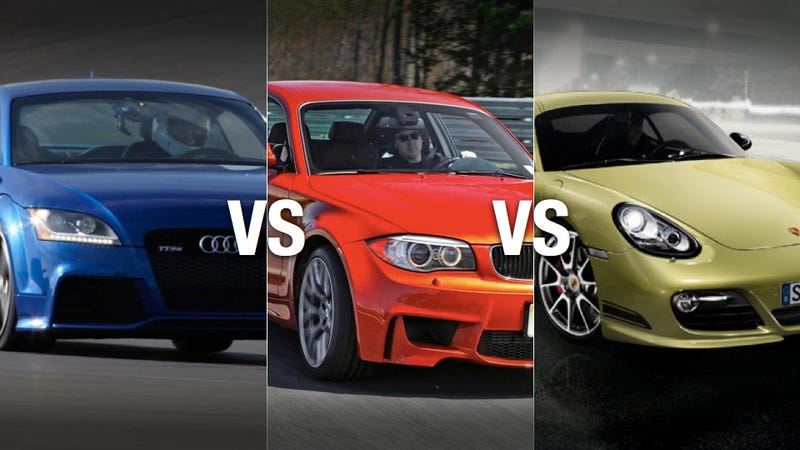 Illustration for article titled BMW 1M vs Porsche Cayman R vs Audi TT RS: Which to buy?