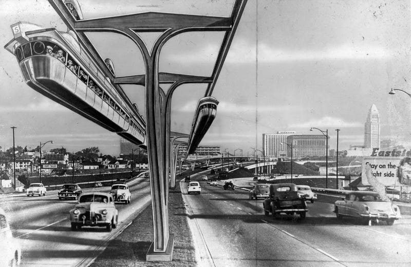 Illustration for article titled Nobody Walks in L.A.: The Rise of Cars and the Monorails That Never Were