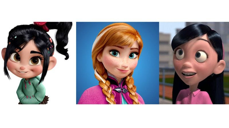 Illustration for article titled Every female face in recent Disney and Pixar movies looks the same
