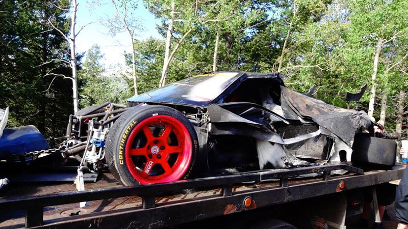 Illustration for article titled Here's What's Left Of Cody Loveland's Crashed 1000HP Pikes Peak NSX