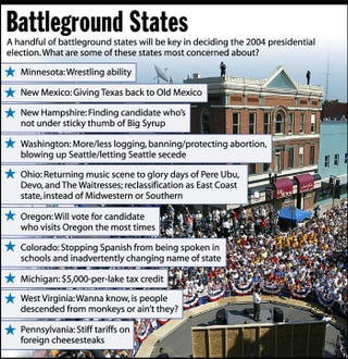 A handful of battleground states will be key in deciding the 2004 presidential election. What are some of the states most concerned about?