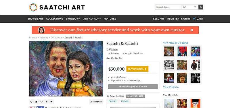 Illustration for article titled Saatchi Art Sells Paintings of Charles Saatchi Choking Nigella Lawson