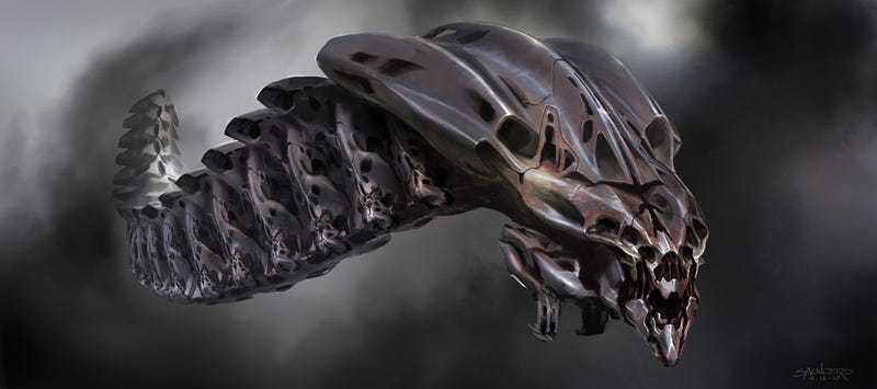 Illustration for article titled The Avengers' Leviathan warships could have been more H.R. Giger-esque