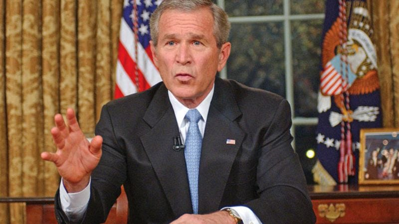 "In a televised address to the nation, Bush called for ""a little peace and quiet."""