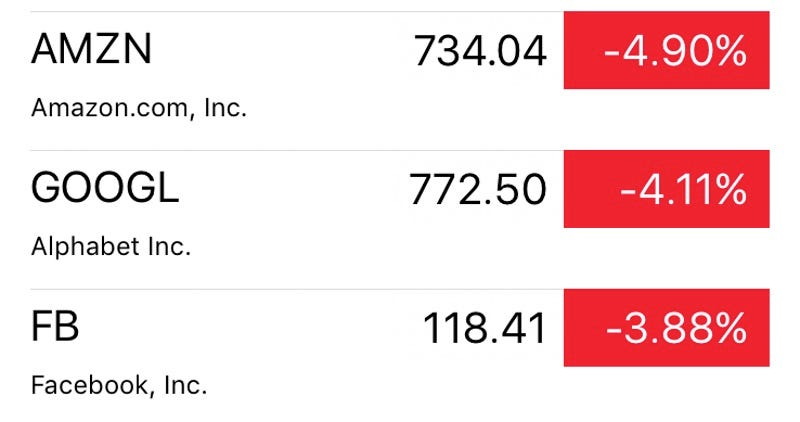 Screenshot of tech stocks that are currently plunging over fears about what a Donald Trump presidency might mean for Silicon Valley (Yahoo)