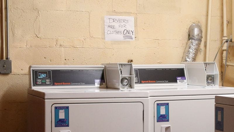 Illustration for article titled Cryptic New Laundry Room Rule Hints At Tale Of Bizarre Infraction