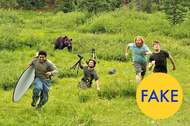 "Have you seen that ""behind the scenes at National Geographic"" photo where those guys are running from a bear? It's pretty amusing. But it's a fake."