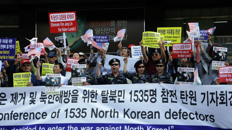 North Korea defectors stage an anti-North Korea protest in South Korea in September 2017