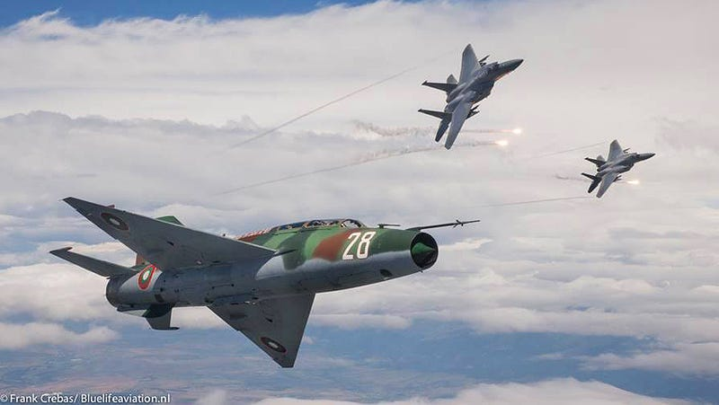 Illustration for article titled It's MiGs Versus Eagles Training High Over Europe