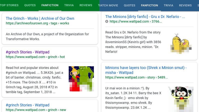 Illustration for article titled Google Axes 'Fanfiction' Tab That Suggested Grinch and Minions Porn