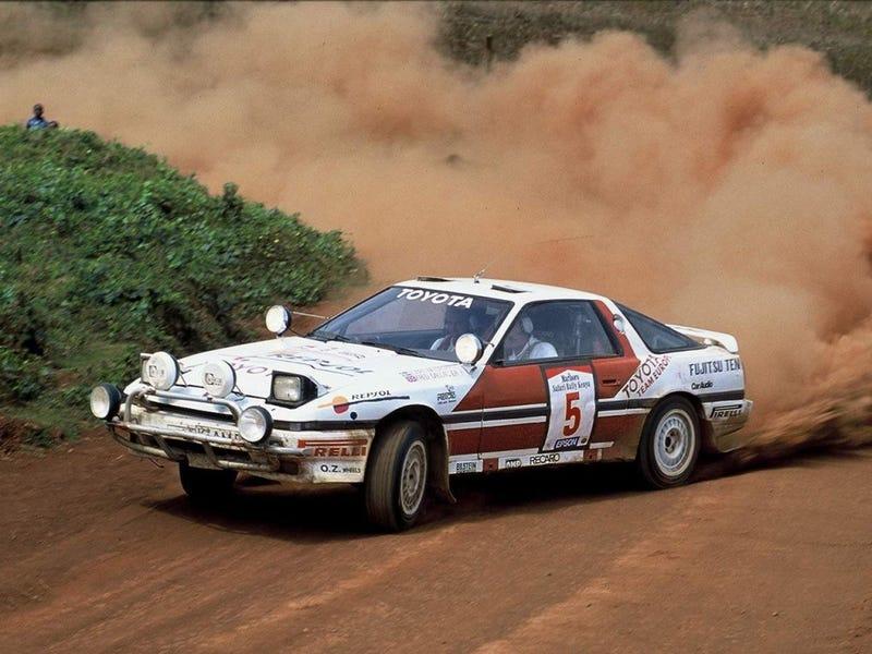 The 1987 Waldegard Toyota Supra (MA70) at the 1987 Safari Rally.