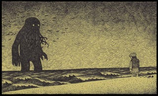 Illustration for article titled What if Edward Gorey drew Lovecraft's unspeakable horrors?
