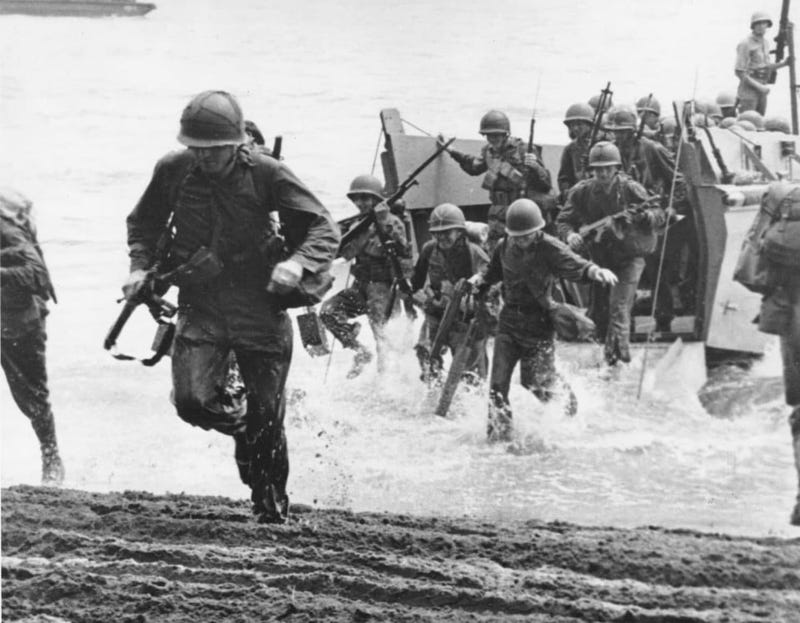 US Marines come ashore on Guadalcanal the morning of August 7, 1942