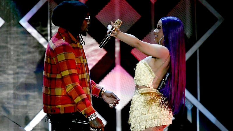 Cardi and Offset performing at KIIS FM's Jingle Ball in Inglewood, California, on November 30