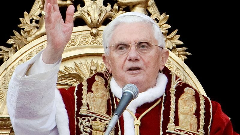 Pope Benedict XVI explains which types of slow, deliberate touching the church deems inappropriate.